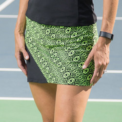Bias Skort - Lime Geometric with Black