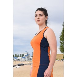 Scoop Neck Tank Top - Orange with Navy side panels