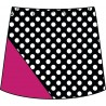 Bias Skort - BW Mini Dot with Fuchsia
