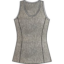 Scoop Neck Tank Top - Heather Grey w/White Trim