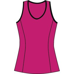 Scoop Neck Tank Top - Fuchsia with Black Trim