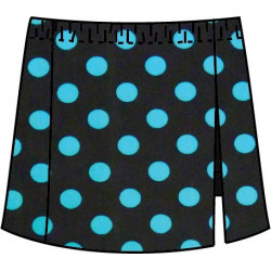 Side Slit Skort - Turquoise Dot on Black w/ Black