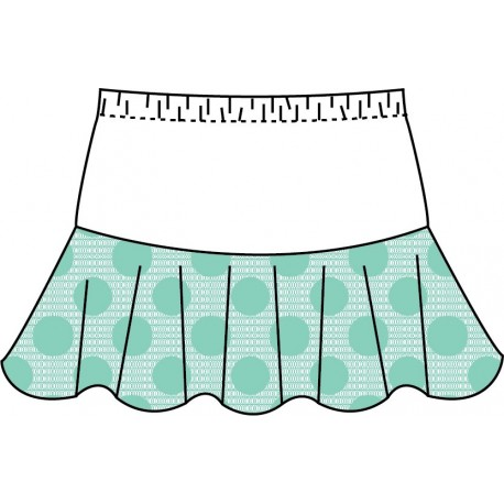 Flounce Skort - Seafoam Dot Lace with White Top