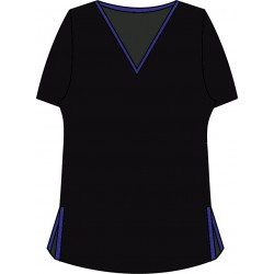 Short Sleeve Tee - Black w/Cobalt Trim