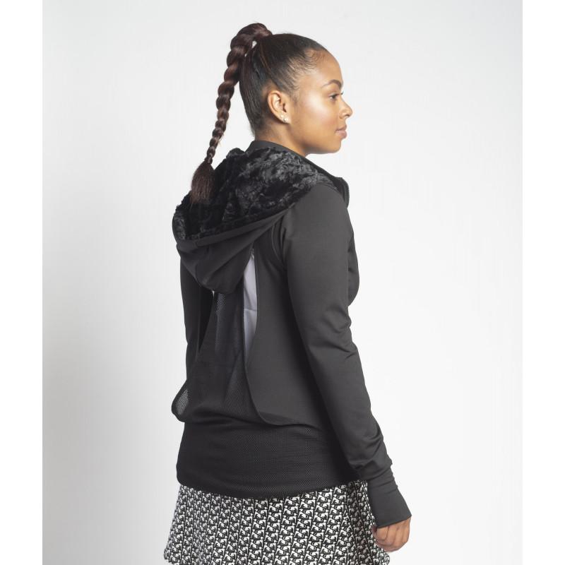 Mesh Back Jacket w/ Fur lined Hood - Black