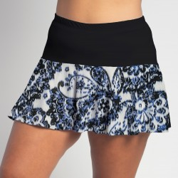 Flounce Skort - Denim Paisley with Black Top