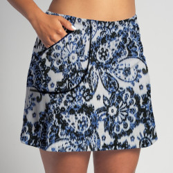 Golf/Walking Zipper Pocket Skort - Denim Paisley