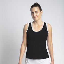 Scoop Neck Tank Top - Black with White trim