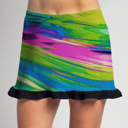 "Short Ruffle Skort 2"" shorter- Candy Crush w/Black Ruffle"