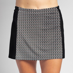 Slimming Panel Skort - Red/Black Ikat with Black