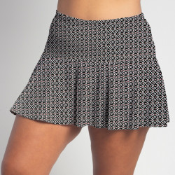 Flounce Skort - Red/Black Ikat Dot all over