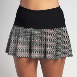Flounce Skort - Red/Black Ikat Dot with Black