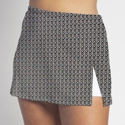 Side Slit Skort - Red Black Ikat Dot w/ White Shorts