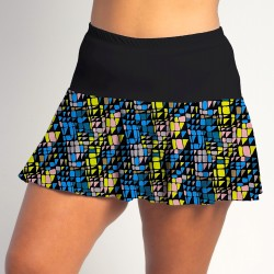 Flounce Skort - Stained Glass w/Black Top Band