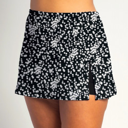 Side Slit Skort - Scattered Dots - Black Shorts