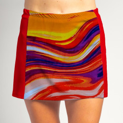 Slimming Panel Skort - Sunset Swirl with Red