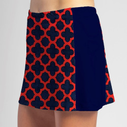 Slimming Panel Skort - Navy/Red Medallion with Navy