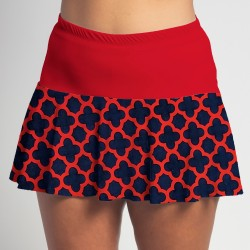 Flounce Skort - Navy/Red Medallion with Red