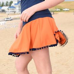 Flounce Skort w/ ball fringe trim - Orange and Blue
