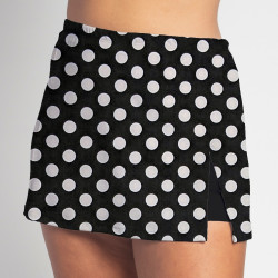 Side Slit Skort - BW Mini Dot - Black Shorts