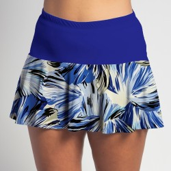 Flounce Skort - Forget Me Not Floral with Cobalt Blue Top