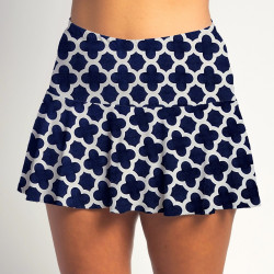 Flounce Skort - Navy Medallion all over print