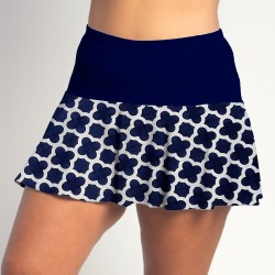 Flounce Skort - Navy Medallion with Navy