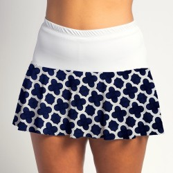 Flounce Skort - Navy Medallion with White