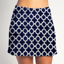 Golf/Walking Zipper Pocket Skort - Navy Medallion