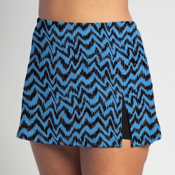 Side Slit Skort - Turquoise Black Attack w/ Black
