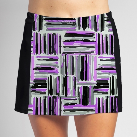 Slimming Panel Skort - Violet Crosshatch-Black Side panels