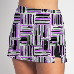 Side Slit Skort - Violet Crosshatch - Black Shorts