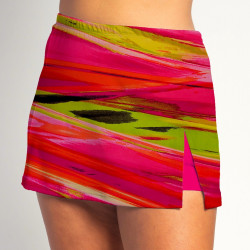 Side Slit Skort - Aurora Waves - Fuchsia Shorts