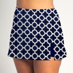 Side Slit Skort - Navy Medallion w/ Navy Shorts