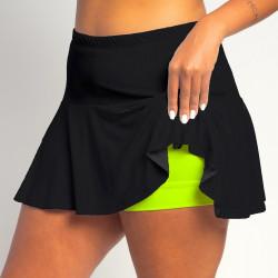 Flounce Skort - Black Solid w/Neon Shorts