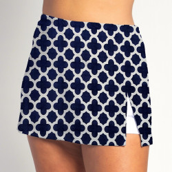 Side Slit Skort - Navy Medallion w/ White Shorts