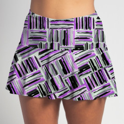 Flounce Skort- Violet Crosshatch all over print