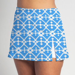 Side Slit Skort - Turquoise Geometric