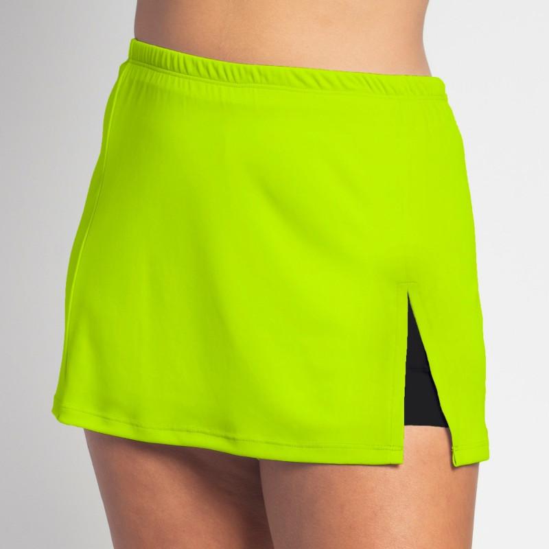 Side Slit Skort - Neon Solid with Black Shorts