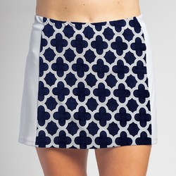 Slimming Panel Skort - Navy Medallion with White