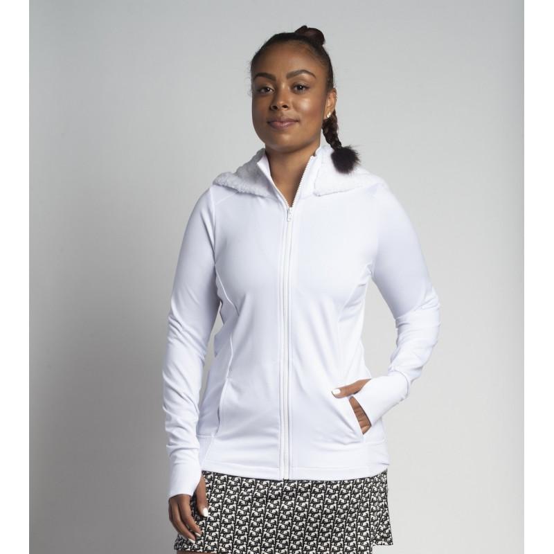 Mesh Back Jacket w/ Fur lined Hood - White