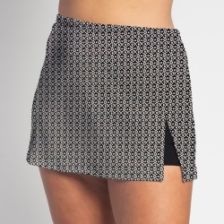 Side Slit Skort - Red Black Ikat Dot w/ Black Shorts