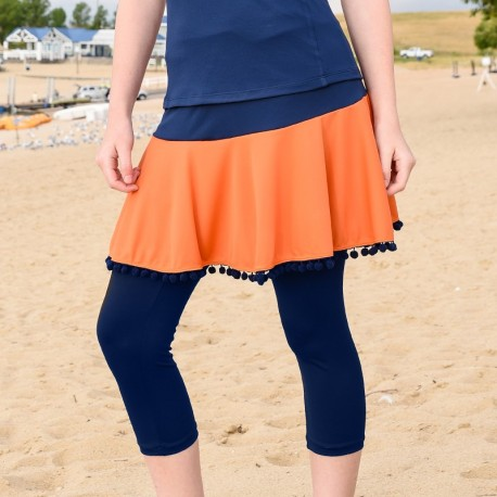 Flounce Skort w/ Capri and Ball Fringe Trim - Orange and Blue