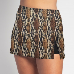 Side Slit Skort - Snakeskin - Black Shorts