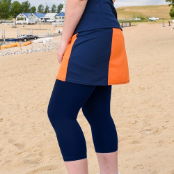 Slimming Panel Skort - Orange and Blue With Capri
