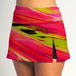 Side Slit Skort - Aurora Waves - Black Shorts