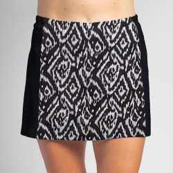 Slimming Panel Skort - BW Tribal with Black
