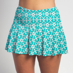 Flounce Skort - Jade Geometric all over print