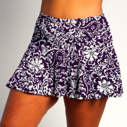 Flounce Skort- Fight Fight Plum and White all over print