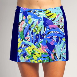 Slimming Panel Skort - Bluegrass with Cobalt